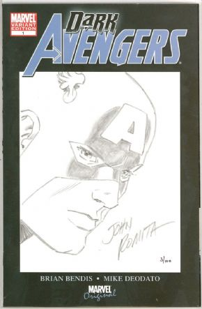 Dark Avengers #1 Dynamic Forces Signed John Romita Captain America sketch DF COA Marvel comic book